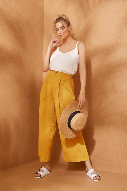 LTS Ochre Yellow Linen Blend Button Pleat Front Culottes_L.jpg