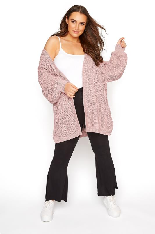 Pink Balloon Sleeve Loose Knit Cardigan