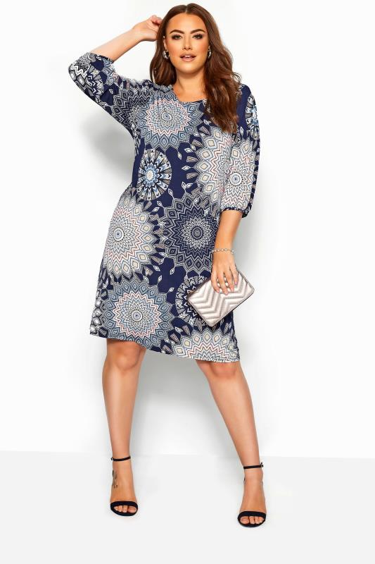 Plus Size Sleeved Dresses Navy Geometric Shift Dress