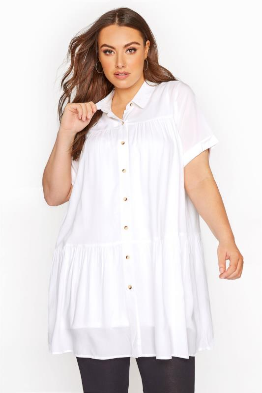 Plus Size  White Tiered Smock Tunic Blouse
