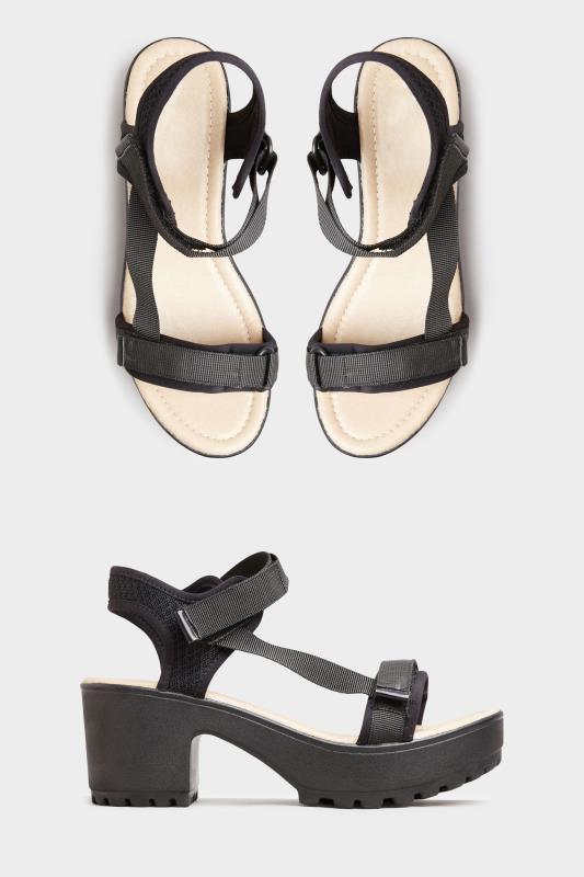 Yours Black Sport Strap Platform Heeled Sandals in Regular Fit