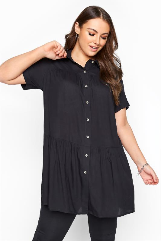 Plus Size Shirts Black Tiered Smock Longline Shirt