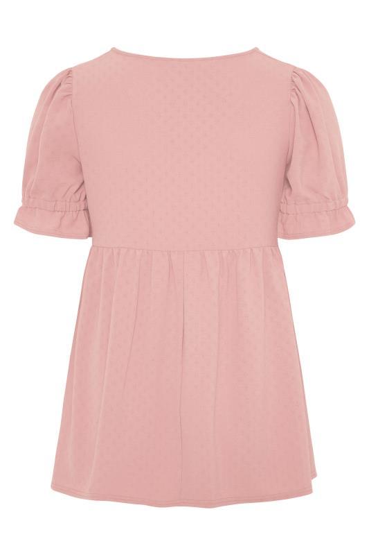 BUMP IT UP MATERNITY Pink Dobby Puff Sleeve Smock Top_BK.jpg