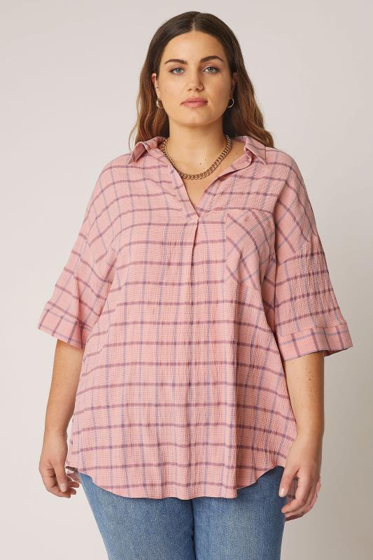 THE LIMITED EDIT Pink Check Pleated Front Top_A.jpg