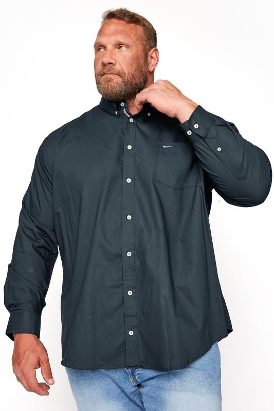 Men's  BadRhino Navy Essential Long Sleeve Oxford Shirt