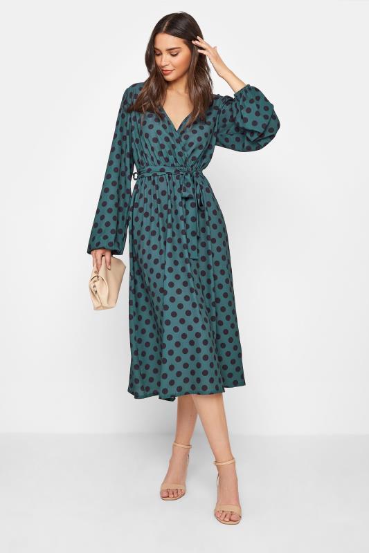 Tall  LTS Teal Blue Polka Dot Wrap Midi Dress