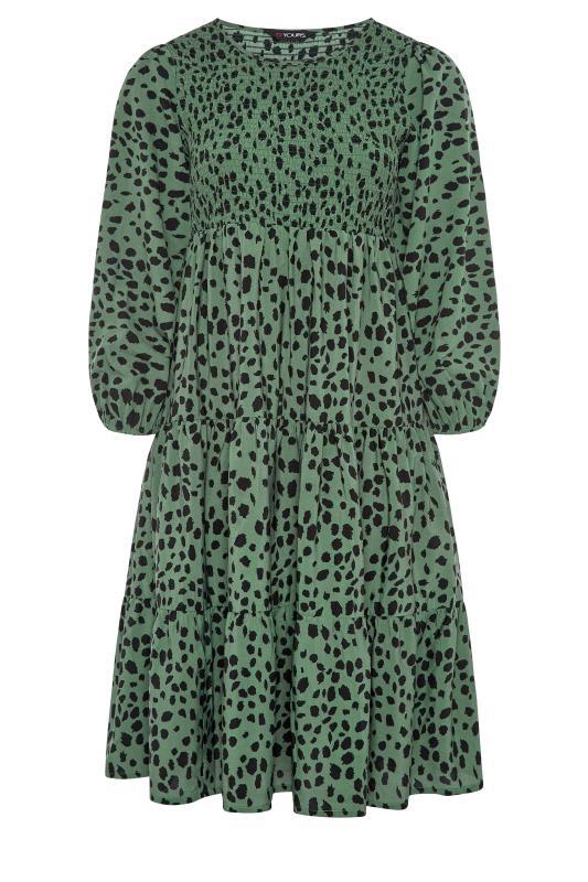 Green Dalmatian Print Shirred Smock Midi Dress_F.jpg