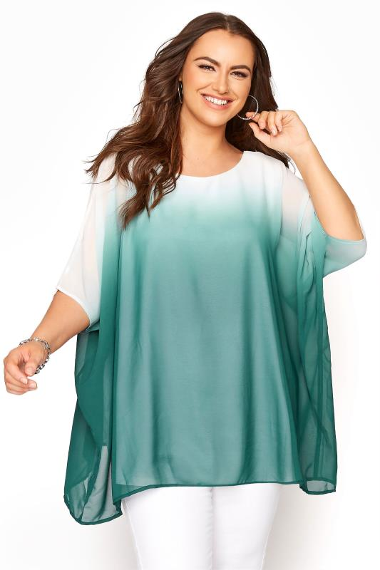 dla puszystych YOURS LONDON Green Ombre Cape Top