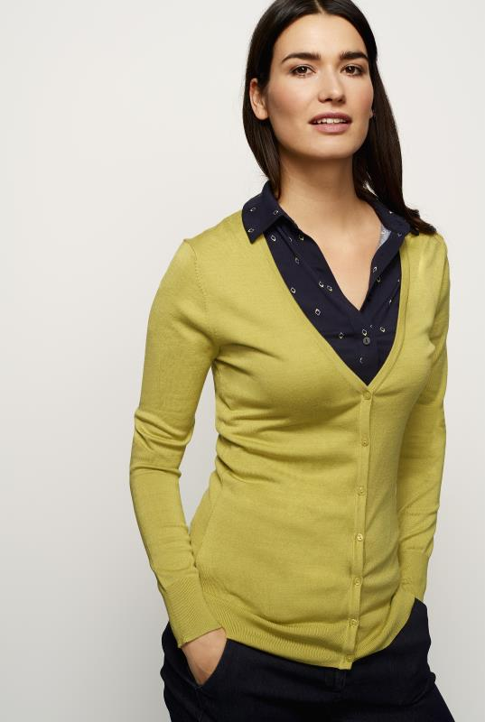 Lime Green V Neck Cardigan