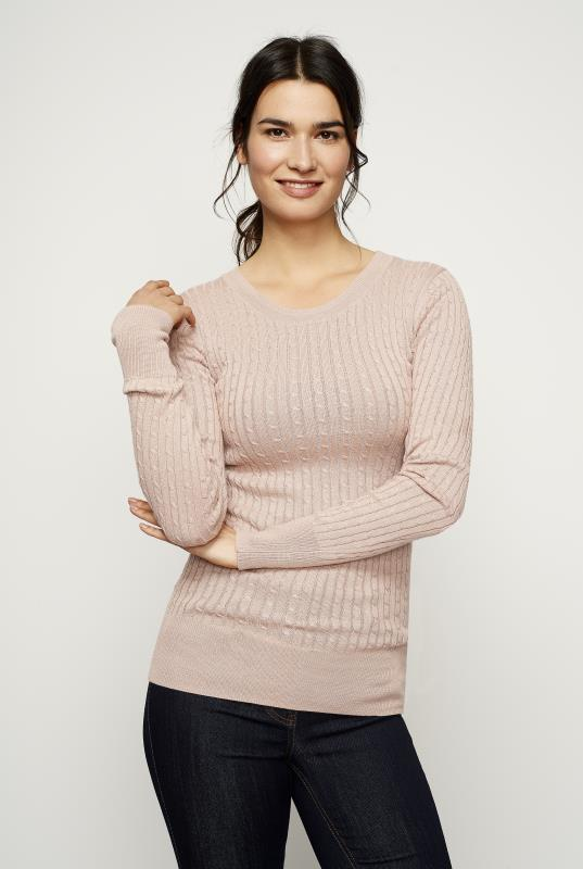 Nude Cable Crew Neck Sweater
