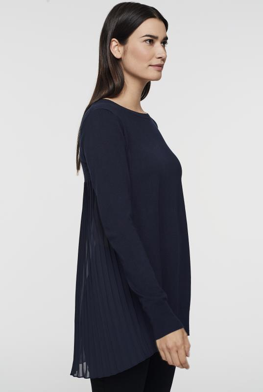 Mix Media Pleated Back Sweater
