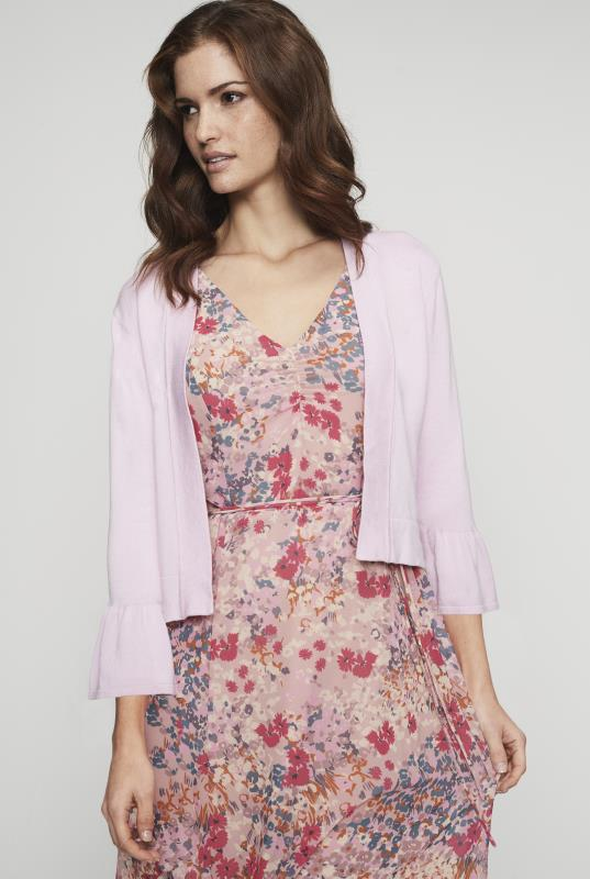 Pink Fluted Sleeve Cover Up