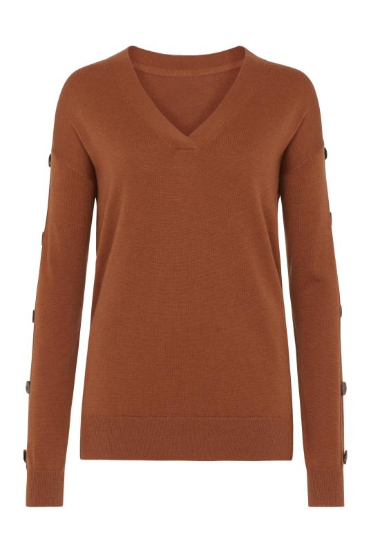 Rust Button Sleeve Jumper