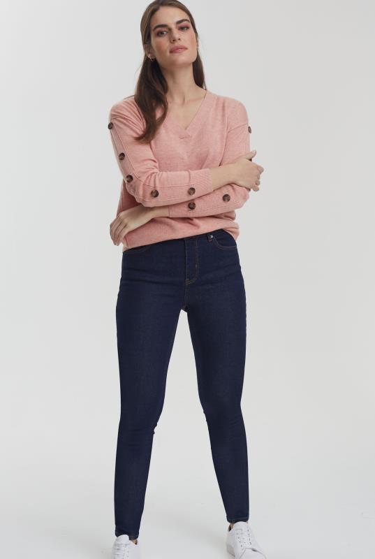 Pink Button Sleeve Jumper