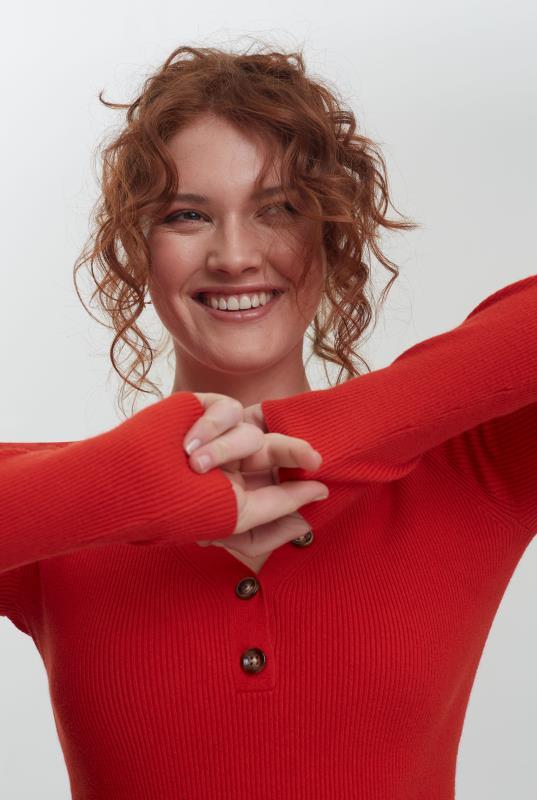 Orange Button Detail Ribbed Sweater