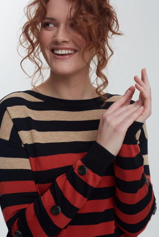 Navy and Camel Stripe Wool Blend Jumper