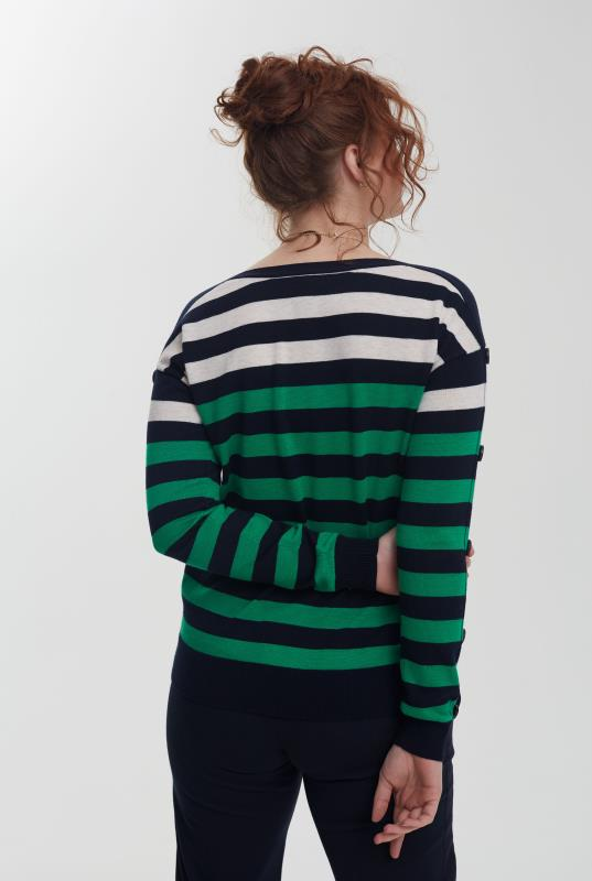 Navy Stripe Wool Blend Jumper