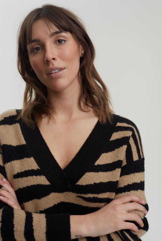 Black & Brown Zebra Print Knitted Jumper