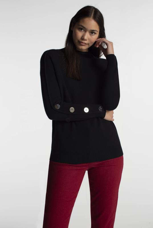 Tall Sweaters & Jumpers Black Cotton Button Sleeve Jumper