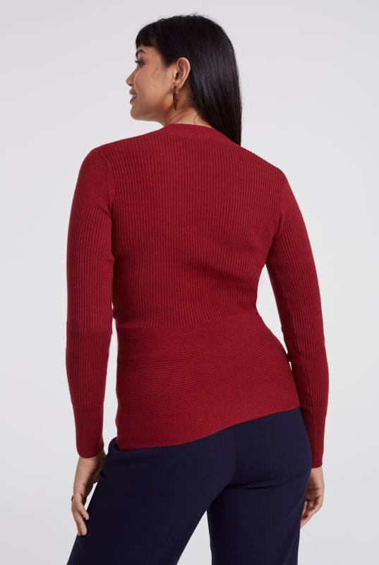 Ribbed Wrap Front Sweater