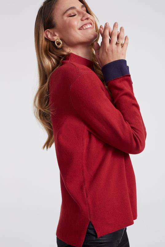 Red Contrast Cuff High Neck Jumper