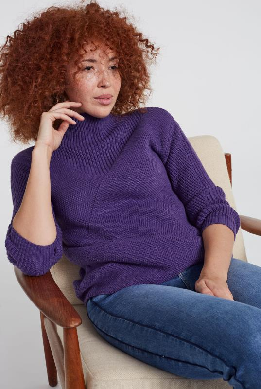 Purple Wool Diagonal Ribbed Jumper