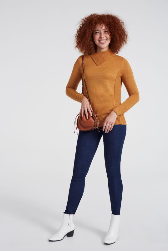 Mustard Cashmere Blend Split Neck Jumper