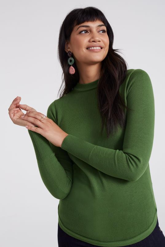 Green Merino Wool Turtleneck Jumper