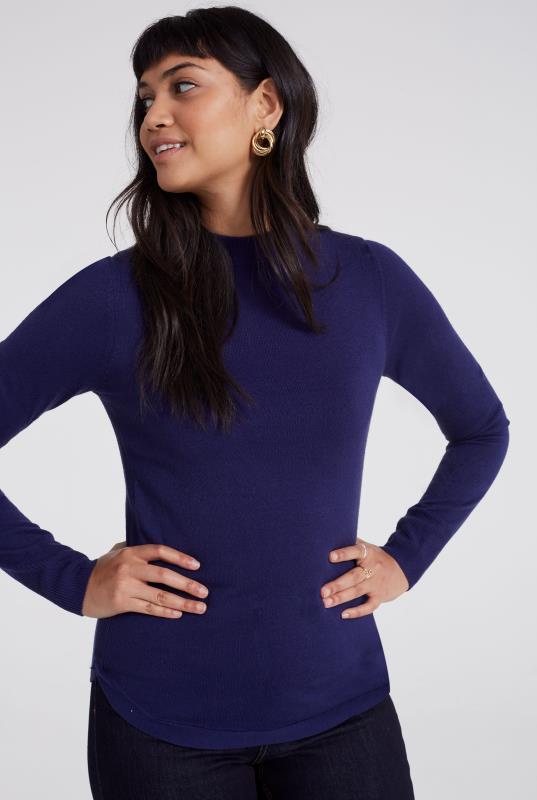 Tall Sweaters & Jumpers Blue Merino Turtleneck Jumper