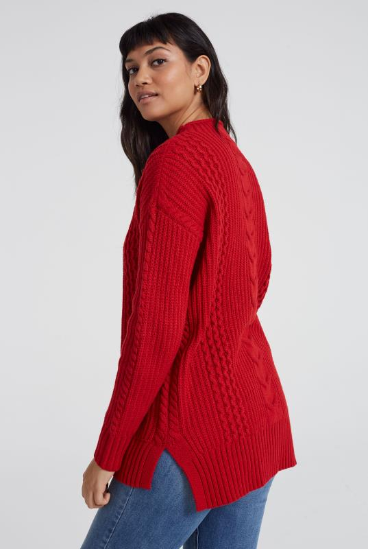 Wool Blend Longline Cable Sweater