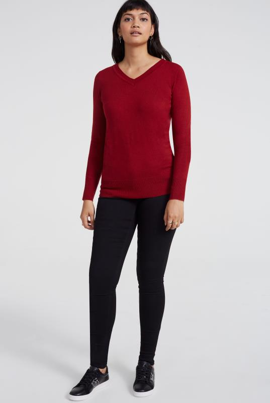 Dark Red 100% Merino V-Neck Sweater
