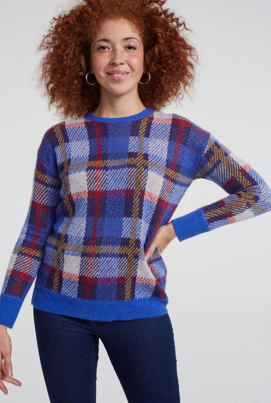 Blue Wool Blend Check Sweater