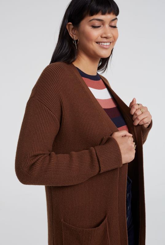 Wool Blend Longline Ribbed Cardigan