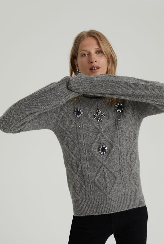 Grey Embellished Cable Knit Jumper