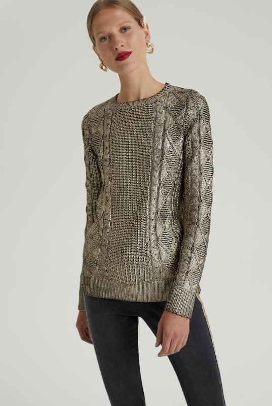 Wool Mix Metallic Cable Sweater