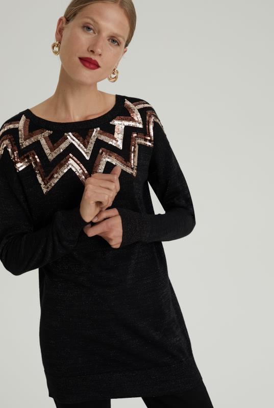 Black Wool Blend Sequin Tunic