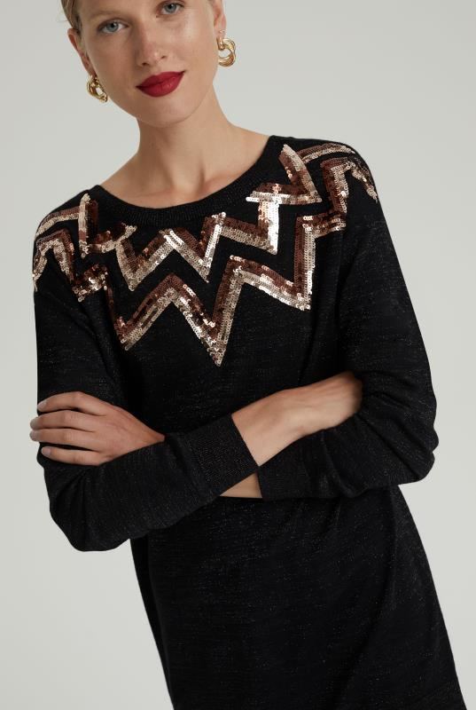 Black Wool Blend Sequin Tunic