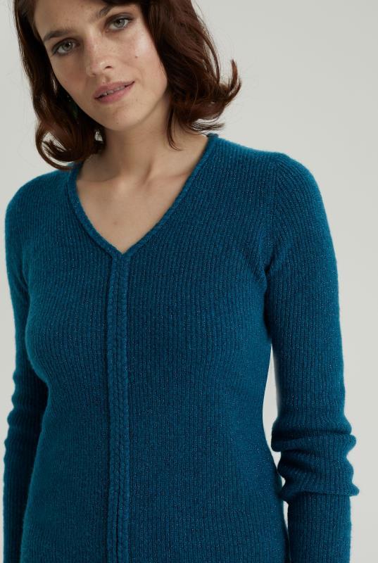 Teal Braid Neck Lurex Sweater
