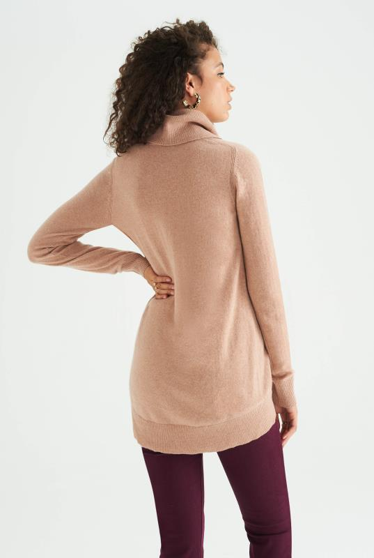 Blush Pink Cashmere Cowl Neck Jumper
