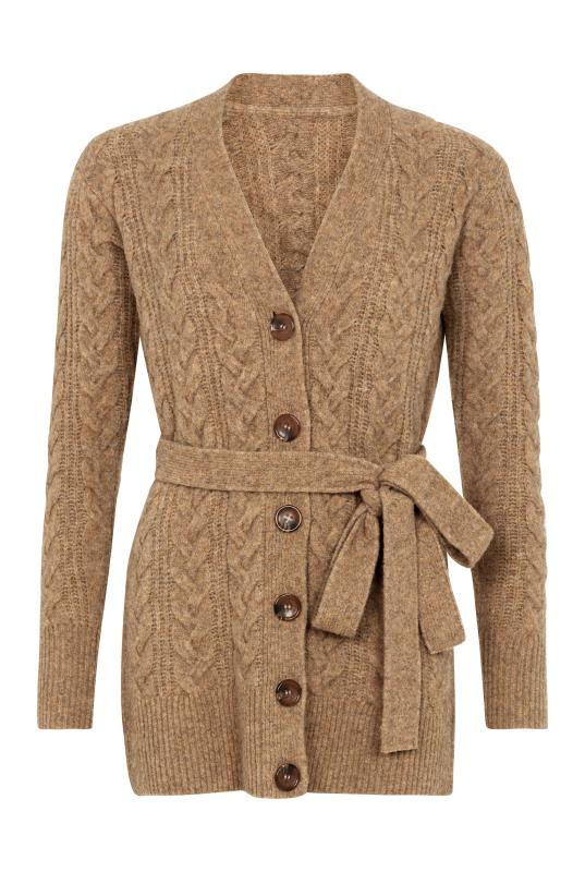 Wool Blend Belted Cable Cardigan