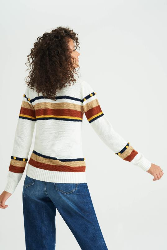 White Wool & Mohair Stripe Bobble Jumper