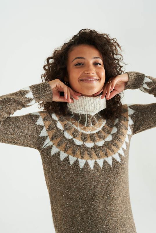 Brown Wool Blend Fairisle Sweater