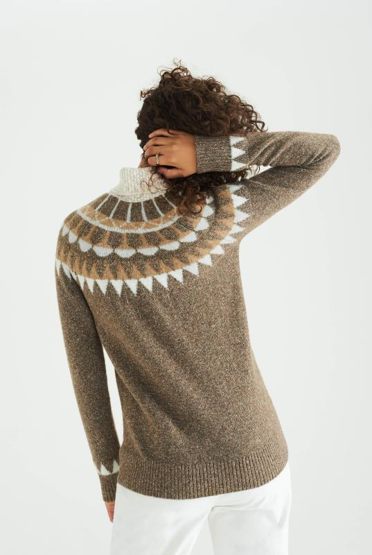 Brown Wool Blend Fairisle Sweater
