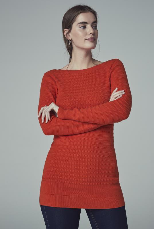 Tall Tunics Orange V-Back Knitted Tunic