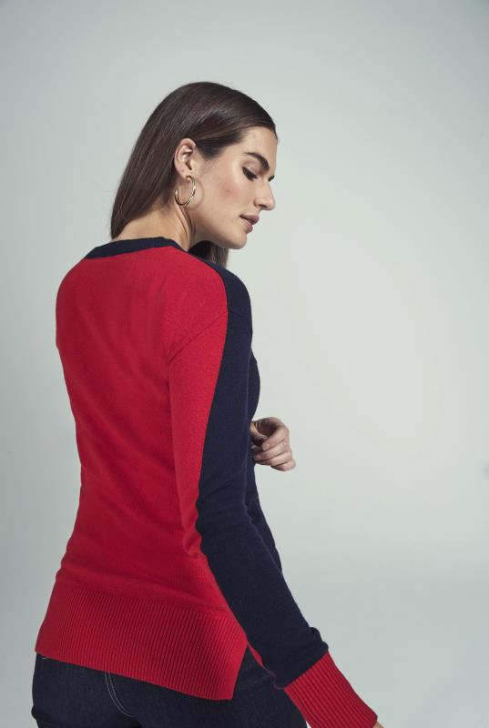 Navy Colour Block Knitted Jumper