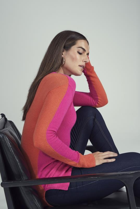 Tall Sweaters & Jumpers Pink Colour Block Knitted Jumper