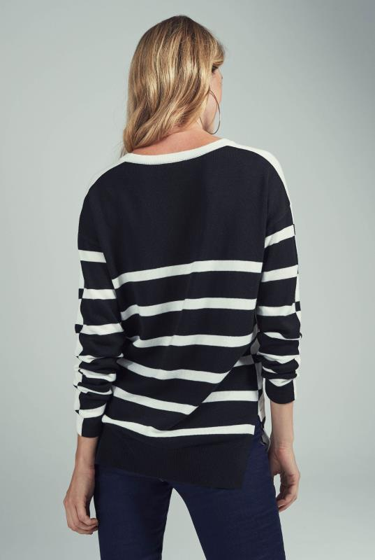 Black & White Wool Blend Stripe V Neck Sweater