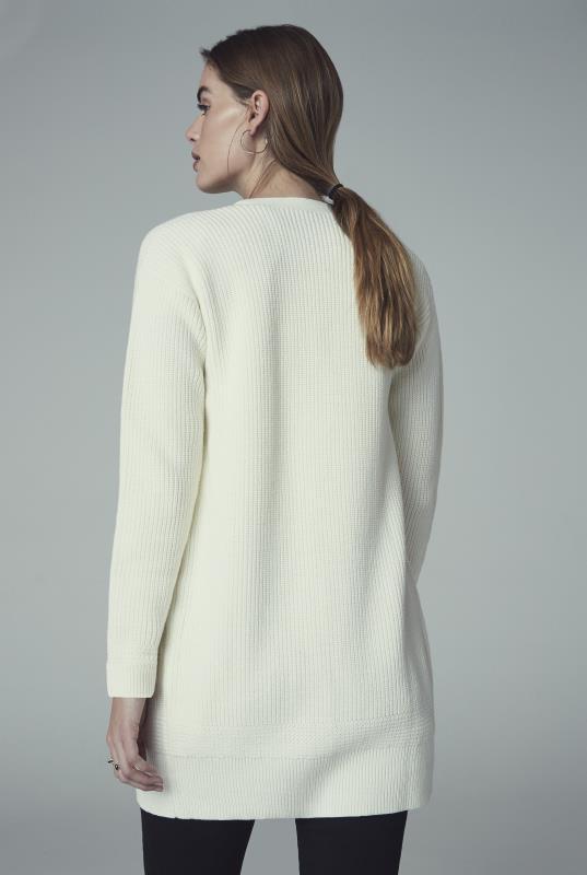 Ivory Cotton Rich Longline Cardigan