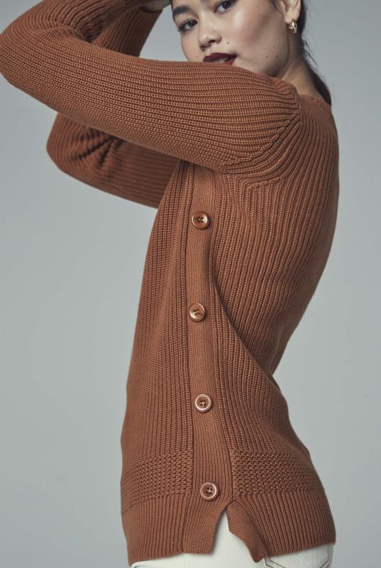 Brown Button Detail Jumper