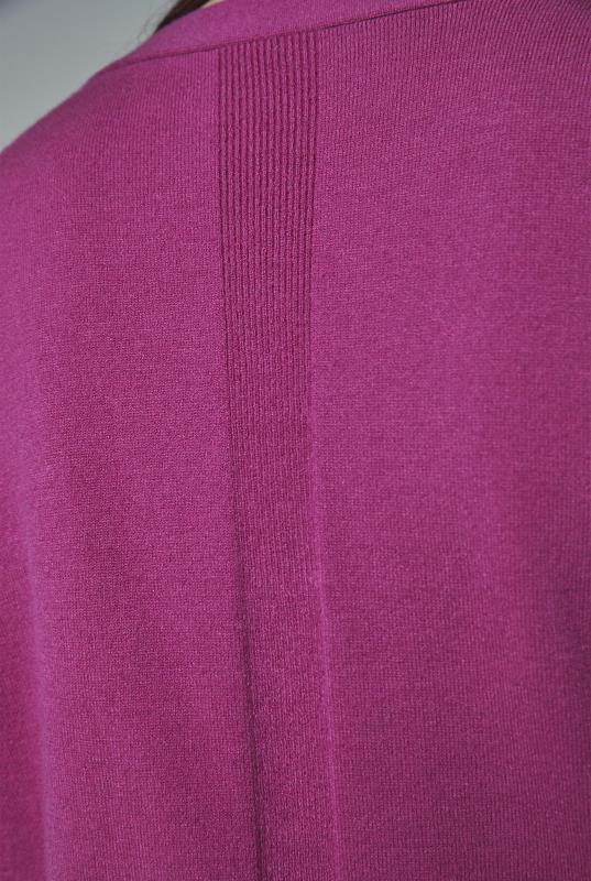 Fuchsia Stitch Detail V Neck Jumper